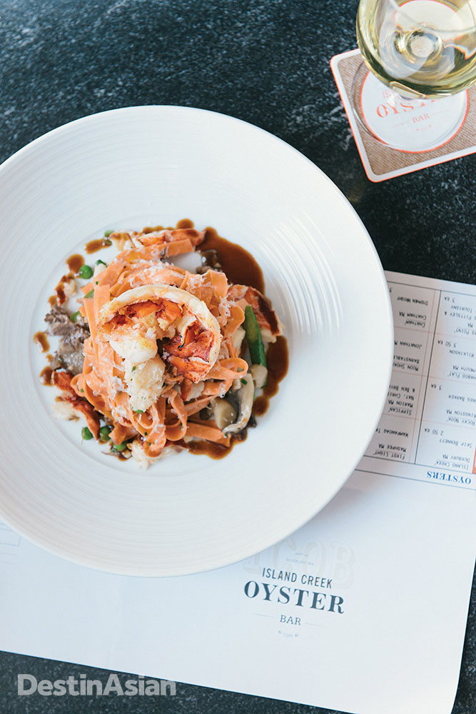 Lobster roe noodles with braised short rib at Island creek Oyster Bar.