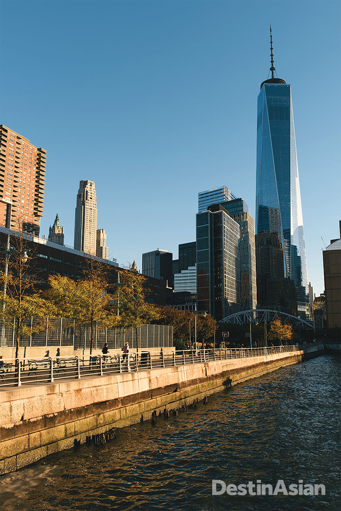Near the Hudson River, One World Trade Center is the tallest building in the Western Hemisphere.