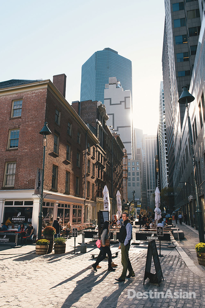 The 19th-century buildings of the South Street Seaport historic district today house an array of shops, restaurants, and arts facilities.