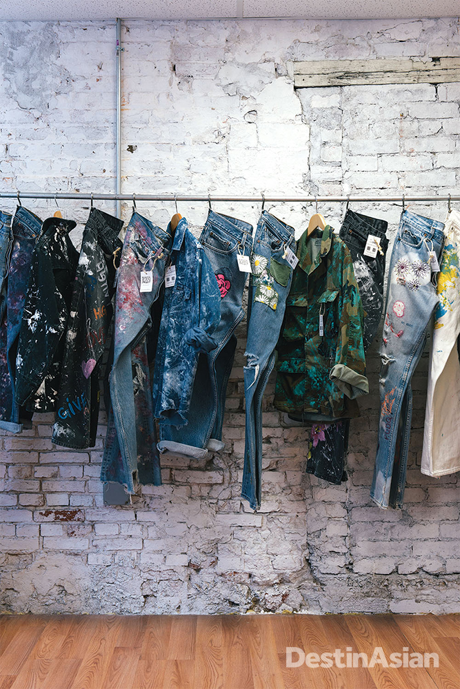 Painted vintage denim at Rialto Jean Project.
