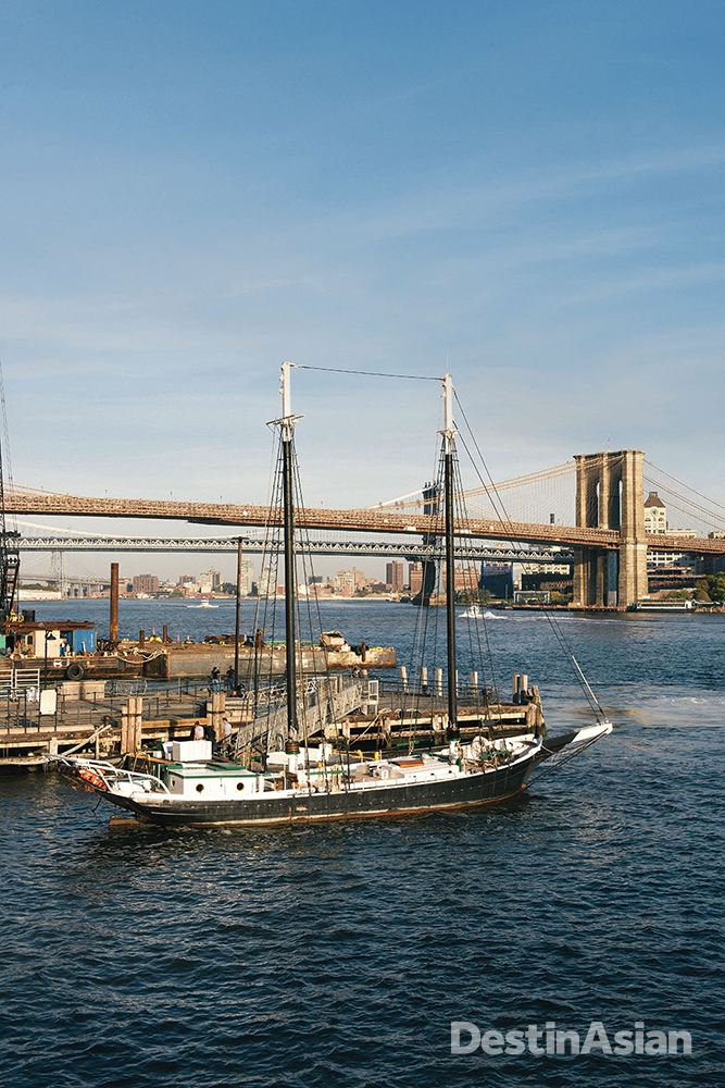 A 19th-century schooner - now a tourist boat - pierside at South Street Seaport.