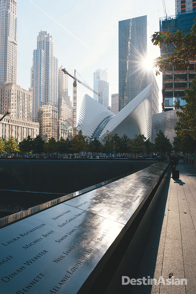 The 9/11 Memorial and Santiago Calatrava's bird-inspired World Trade Center Transportation Hub.