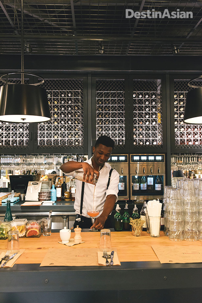 The bar at Le District.