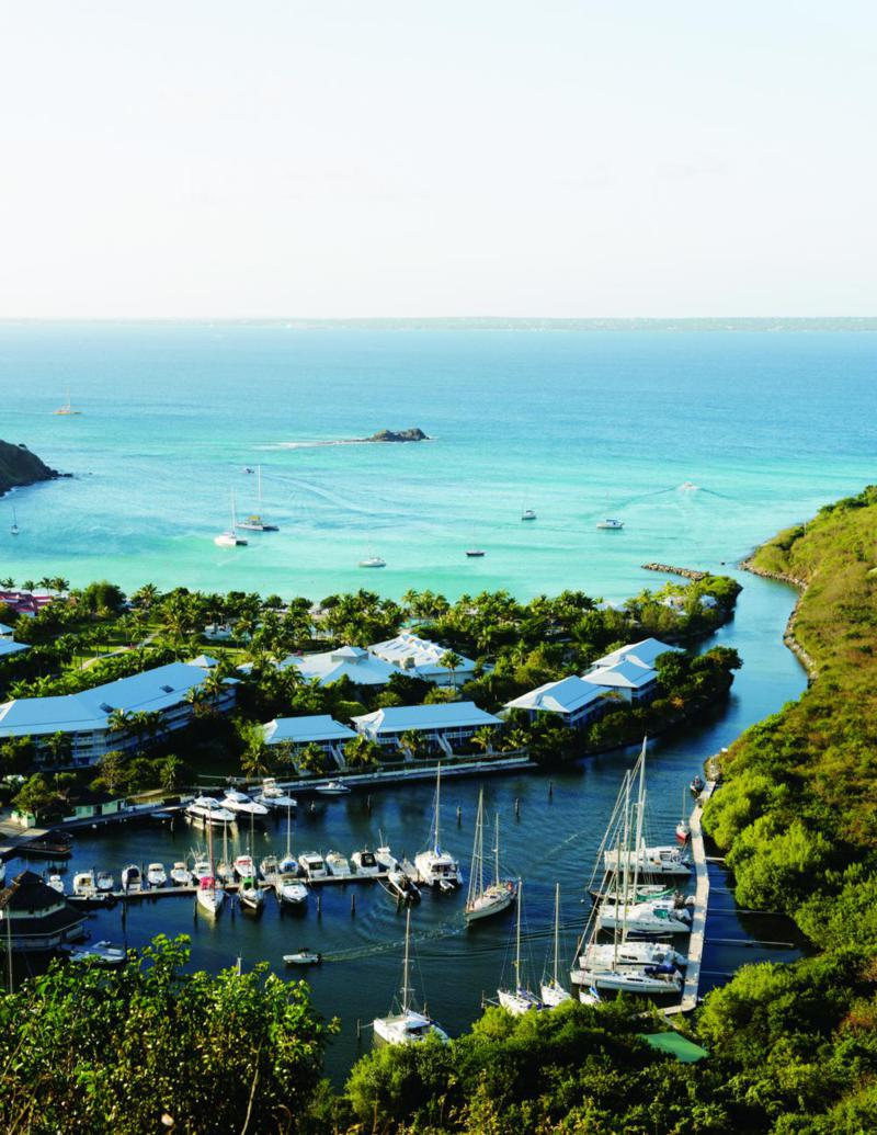 A view over the marina and grounds of the Radisson Blu Resort at Anse Marcel.