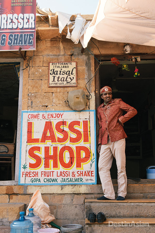 Dr. Bhang at the entrance to his specialty lassi shop.
