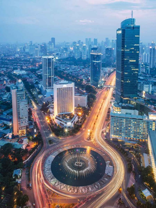 An aerial view of Jakarta's iconic Bundaran H.I.