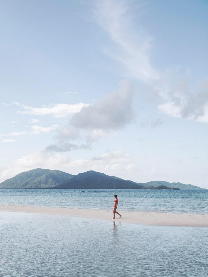 A stroll along a sandbar at Pulau Cemara Besar.