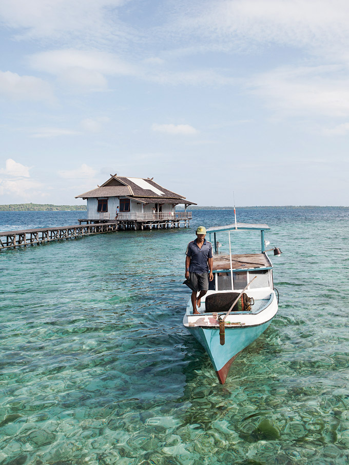 In the shallows off Pulau Tengah, a tiny island with a trio of simple guest cottages and sublime views.