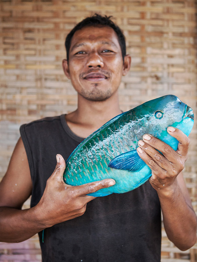 The catch of the day in Karimunjawa.