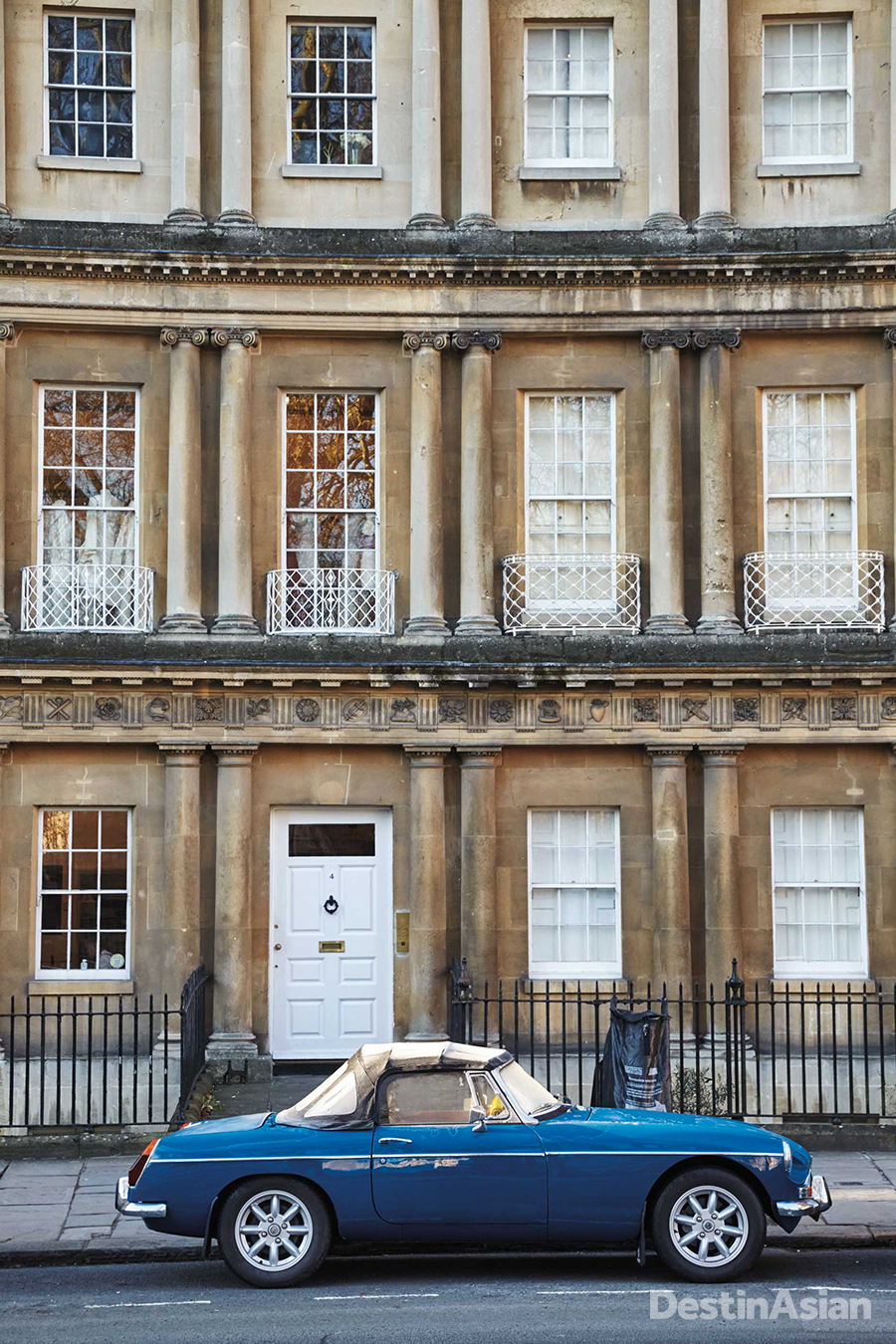 The ring of townhouses known as the Circus is one of Bath's finest examples of Georgian architecture,