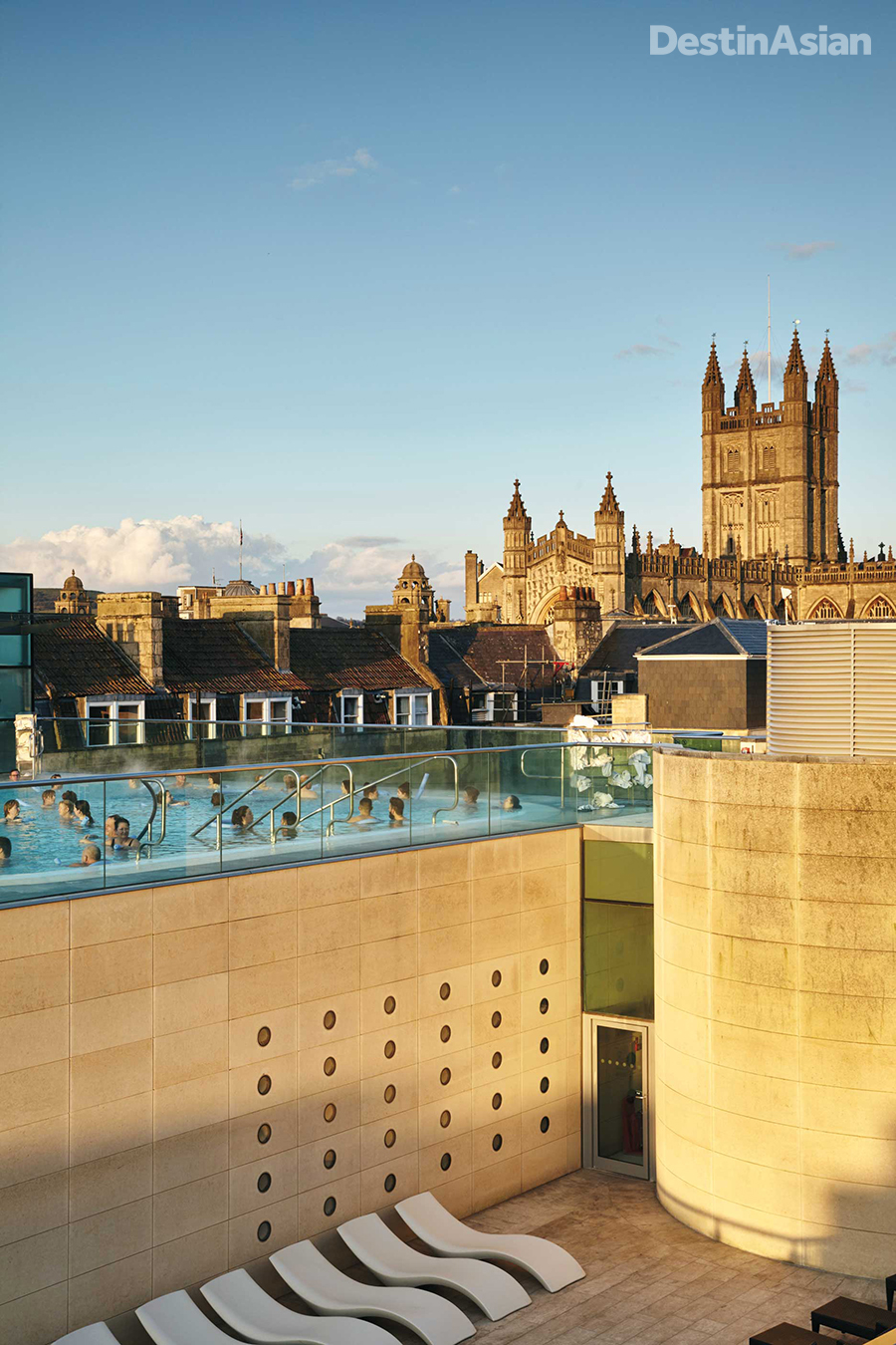 The rooftop pool at Thermae Bath Spa comes with lofty views of Bath Abbey.