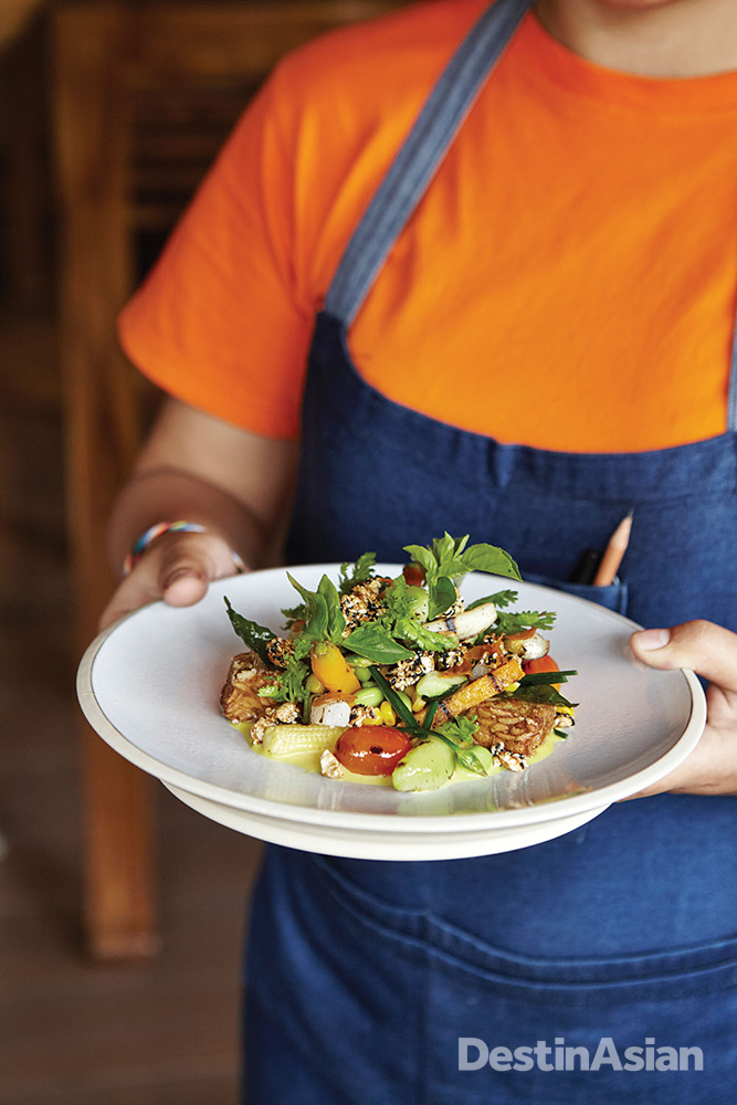 Grilled organic vegetables and tempeh with turmeric dressing at Spice by Chris Salans.