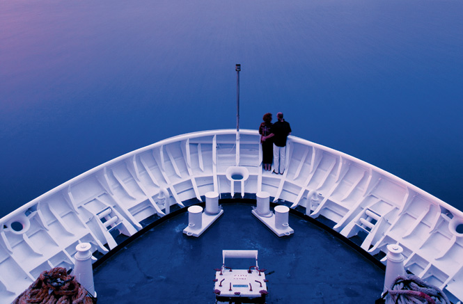 Taking in a sunset seascape from the bow of the Orion II, en route to Kuching, Sarawak.