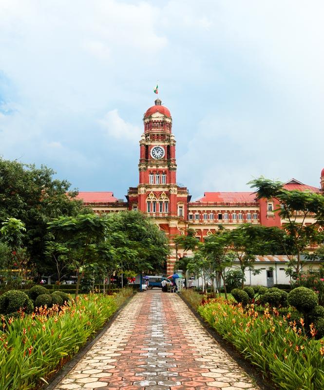 Yangon's High Court building seen from Maha Bandula Park.