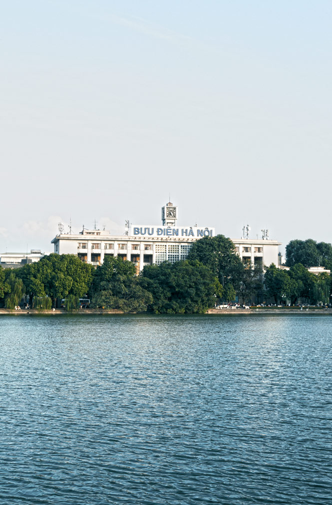 A view across Hoan Kiem Lake to the capital's Central Post Office.