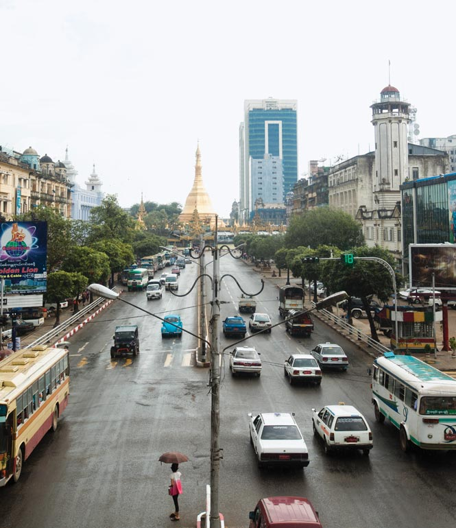 Looking south along Sule Pagoda Road in downtown Yangon, whose gridded streets are a breeze to navigate by foot.
