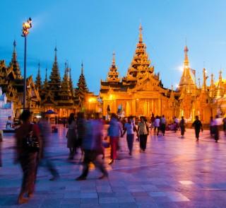 The upper terrace of the 10th-century Shwedagon Pagoda.