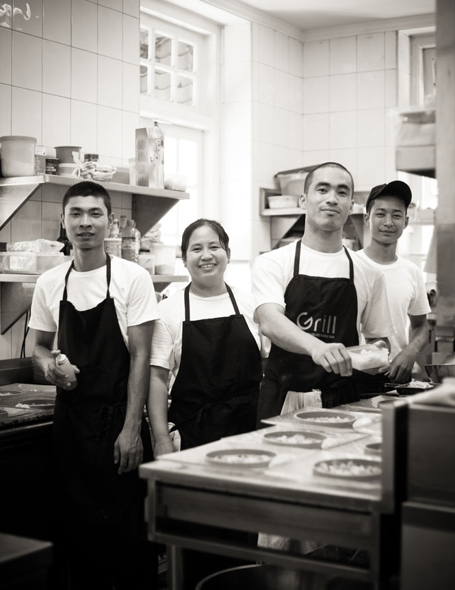 Kitchen staff at Felix Eppisser's Le Planteur restaurant.