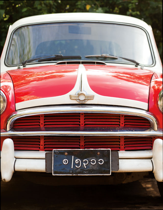 """One of the classic cars used for """"colonial"""" transfers by Le Planteur restaurant."""