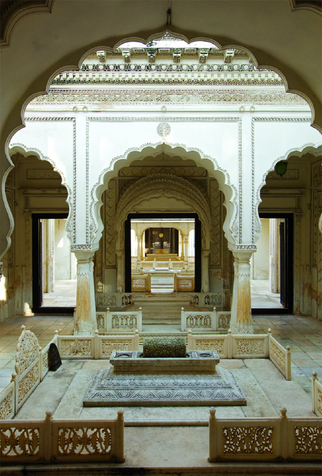 A richly decorated mausoleum at the Paigah Tombs complex.