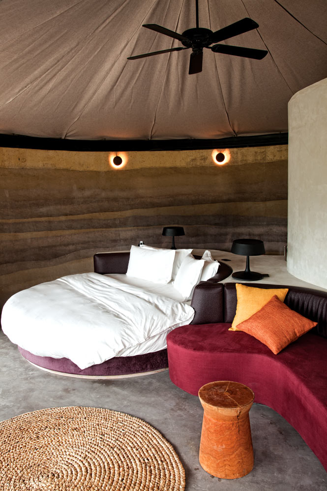The circular design of the resort's Earth Huts is inspired by African rondavels