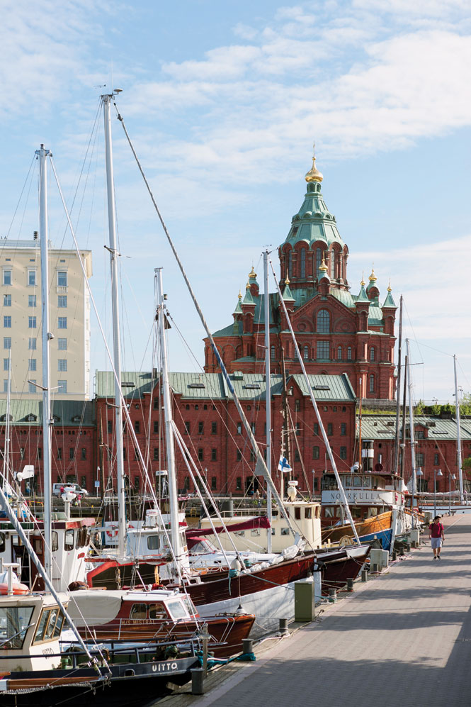 Helsinki's landmark Upenski Cathedral looms above the waterfront.