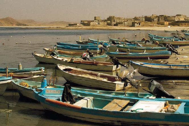 Skiffs on the beach at Mirbat.