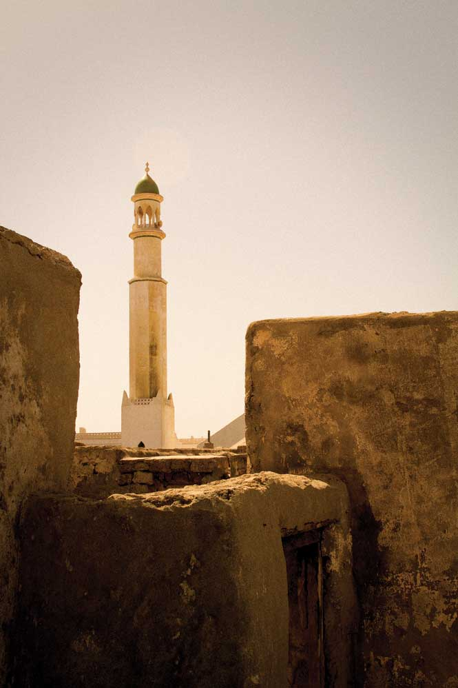 A seaside mosque seen from the ruins of an old fortress in Mirbat, some 70 kilometers east of Salalah.