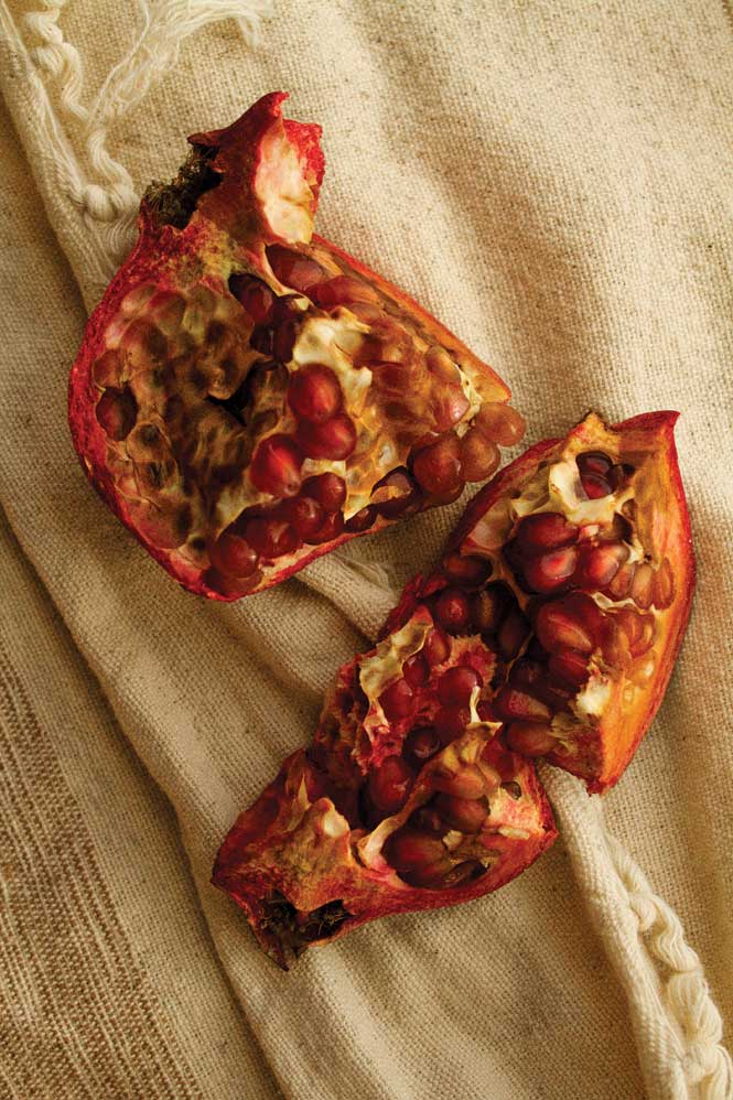 Sweet pomegranate is served fresh at camp breakfasts.