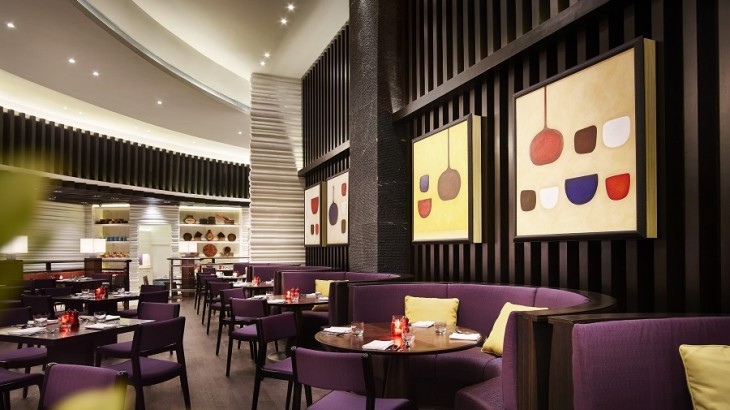 The modern, colorful interiors of the Café.