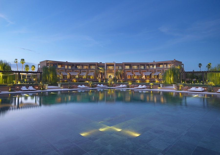 A view of the resort at dusk.
