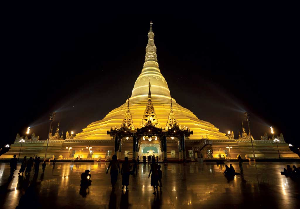 Uppatasanti Pagoda is a 99-meter-high replica of Yangon's historic Shwedagon.