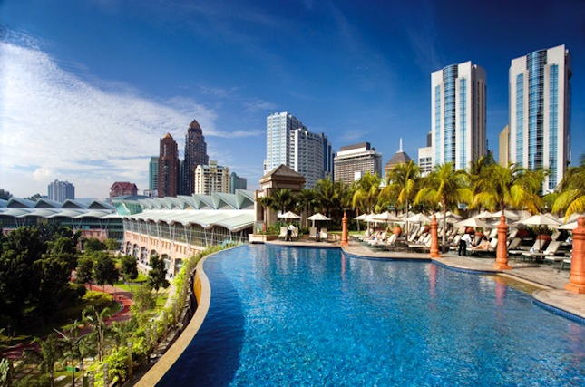 Views from Mandarin Oriental's pool.