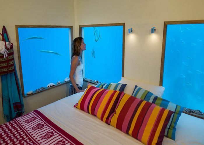 The Manta Resort's singular underwater suite is located 250 meters offshore in a gap in the coral reef.