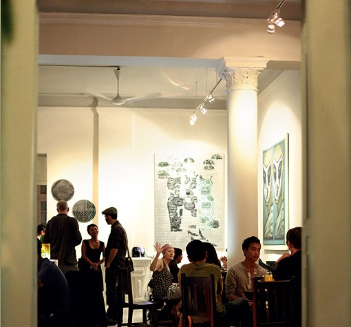 Cocktail hour at Manzi, which hosts art exhibitions and film screenings.