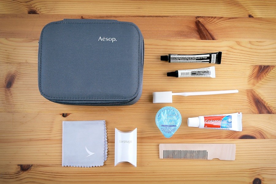 First class amenity kits for male passengers.