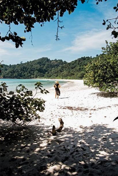 Enjoying a solitary moment on the sandy shores of Kyun Phi Lar Island.