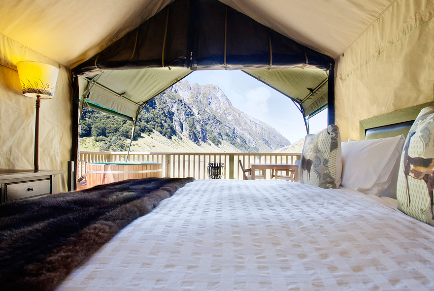 Minaret features luxuriously furnished tented suites.