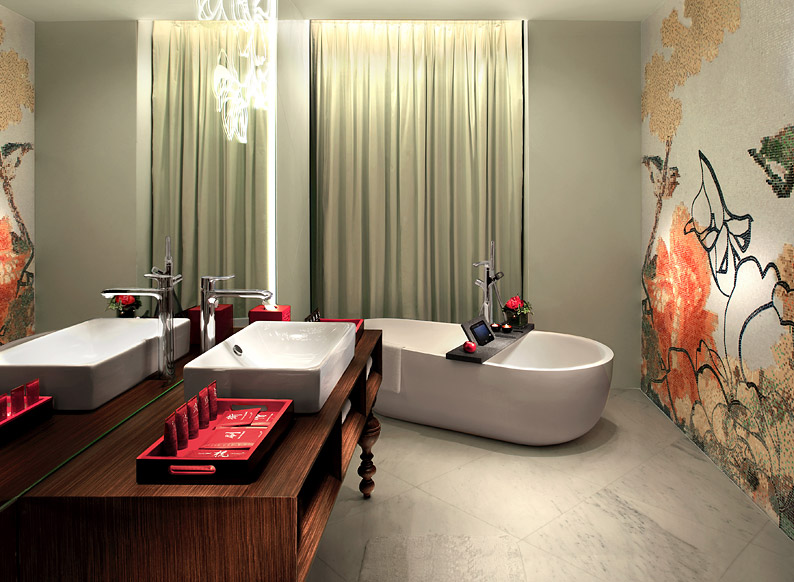 The Full Moon rooms come with marble bathrooms with free-standing bathtubs and walk-in showers.