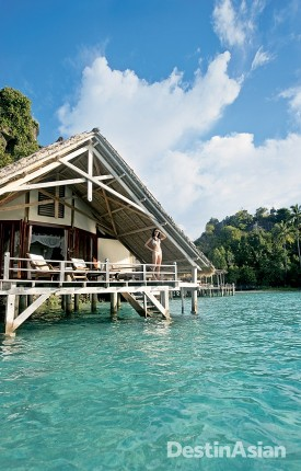 One of the overwater cottages at Misool Eco Resort.