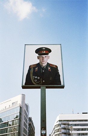 The image of East German soldier at Check Point Charlie.