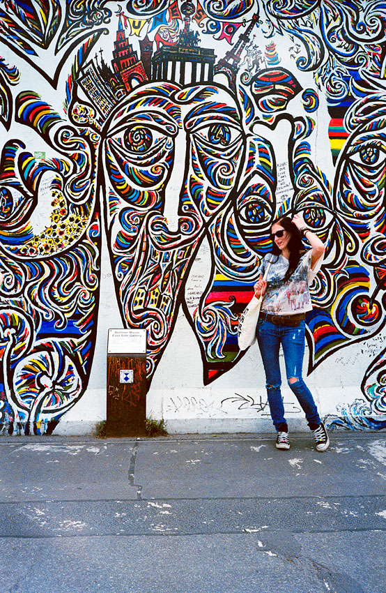 One of the 100-plus painted panels of the East Side Gallery's 1.3-kilometer stretch of the Berlin Wall.