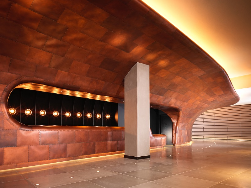A copper hull in the lobby exemplifies the hotel's ocean liner design concept.