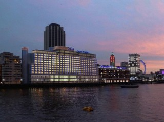 The hotel sits on the south bank of the River Thames.