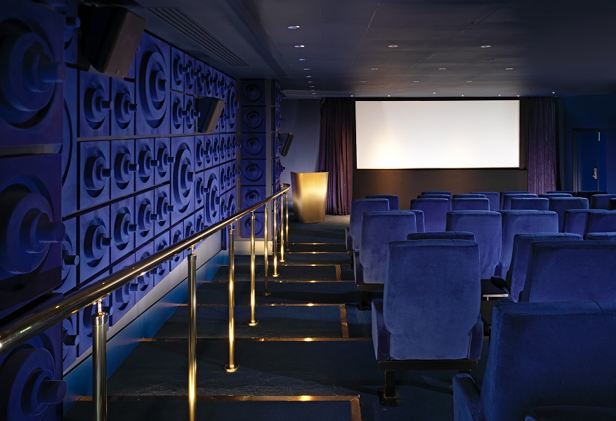 The screening room can seat up to 56 guests.