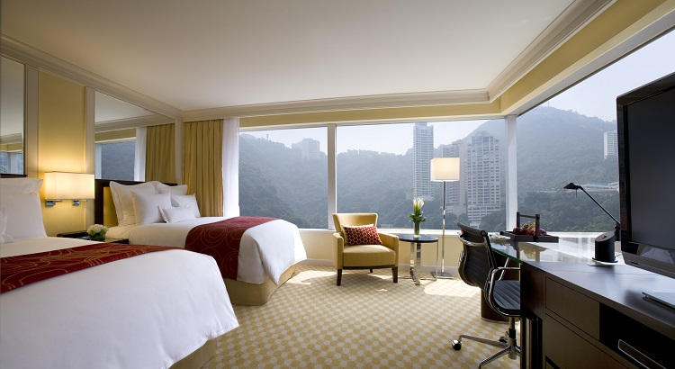 A room with a view of the surrounding mountains.