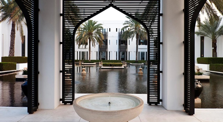 A falaj-inspired system of waterways and gardens runs through the 8.5 hectare resort.