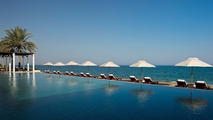 Views of Oman's blue waters from The Chedi Pool.