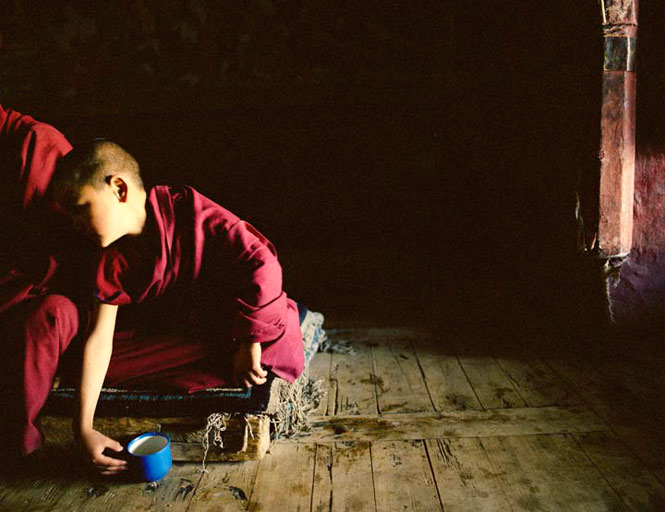 A young monk-in-training at Samstaling, one of several monastic communities perched on the high slopes above the Nubra Valley.