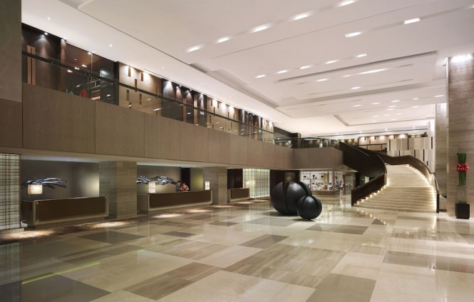 The contemporary interiors of the New World Makati Hotel.